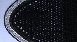 Black Round Bonnet with Silver Sparkle Trim and Rhinestones